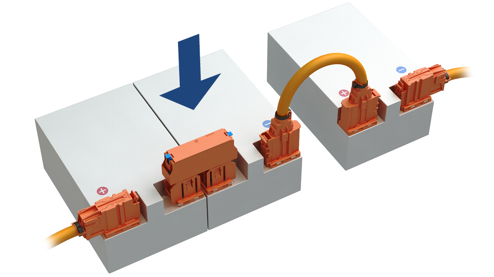 HV-Batterien vertikal verbinden